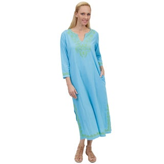 La Cera Women's Long Sleeve Hand Embroidered Caftan