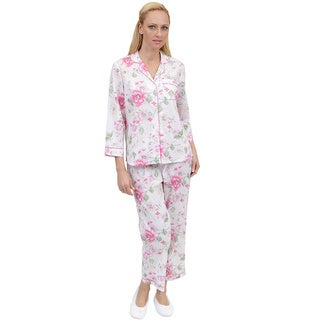 La Cera Women's Floral Printed PJ Set