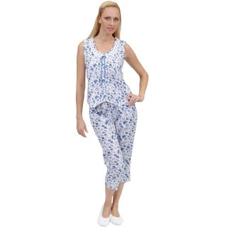 La Cera Women's Printed Pleated PJ Set