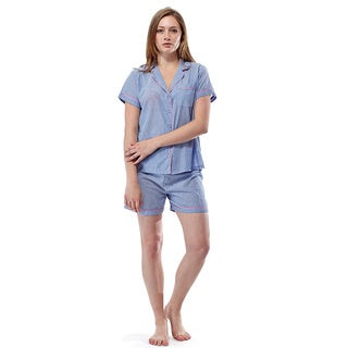 La Cera Women's Striped Shorts PJ Set