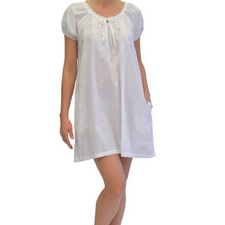 La Cera Women's Short Sleeve Embroidered Chemise
