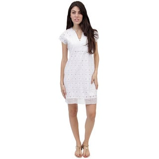 La Cera Women's White Eyelet Dress