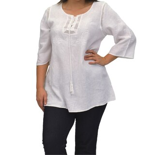 La Cera Women's Plus Size 3/4 Sleeve Hand Embroidered Tunic Top