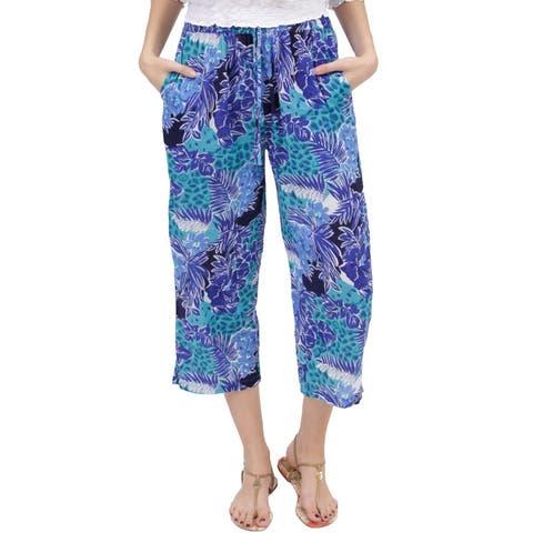 La Cera Women's Tropical Printed Pants