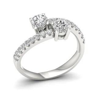 De Couer 14k White Gold 1ct TDW Diamond Two-Stone Ring (H-I, I2)