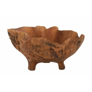 Teak Wood Footed Bowl 21-inch wide x 10-inch high