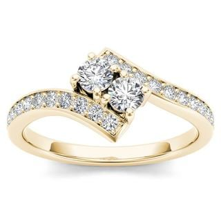 De Couer 14k Yellow Gold 3/4ct TDW Diamond Two-Stone Ring (H-I, I2)