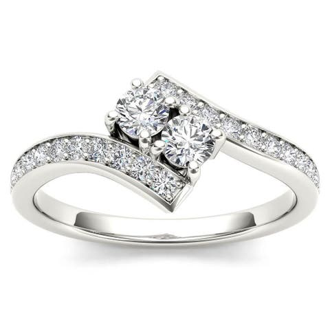 De Couer 14k White Gold 3/4ct TDW Diamond Two-Stone Ring - White H-I - White H-I