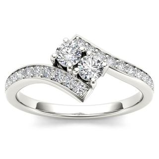 De Couer 14k White Gold 3/4ct TDW Diamond Two-Stone Ring