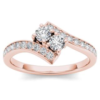 De Couer 14k Rose Gold 1ct TDW Diamond Two-Stone Ring (H-I, I2)