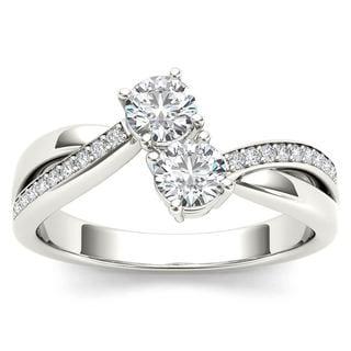 De Couer 10k White Gold 1/2ct TDW Diamond Two-Stone Ring (H-I, I2)