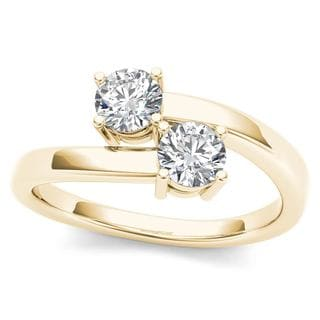 De Couer 10k Yellow Gold 1/4ct TDW Diamond Two-Stone Ring (H-I, I2)