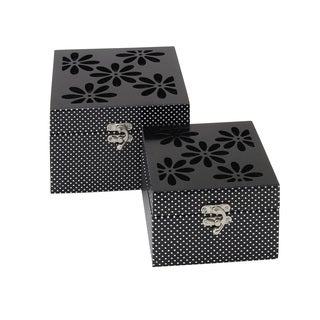 Set of 2 Floral Themed Wooden Mirror Box 8/ 6-inch wide