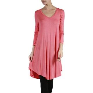 JED Fashion Women's Soft Long Sleeve V-neck Tunic Top