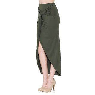 JED Fashion Women's Soft Wrap Asymmetrical High Waisted Midi Skirt