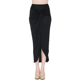 JED Fashion Women's Soft Wrap Asymmetrical High Waisted Midi Skirt