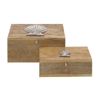 Wood Metal Boxes 12/ 10-inch wide (Set of 2)