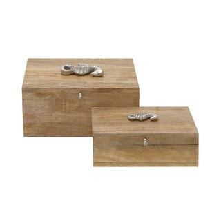 Set Of Two Wood Metal Boxes 12/ 10-inch wide