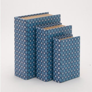 Light Blue Set Of 3 Wooden And Glass Book Box