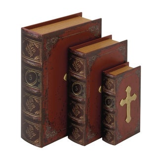 Wood Faux Leather Book Box 9/12/14-inch high (Set of 3)