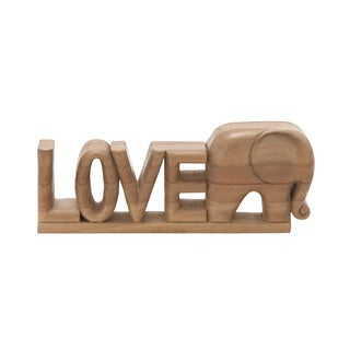 Wood Love Elephant 12-inch wide x 5-inch high