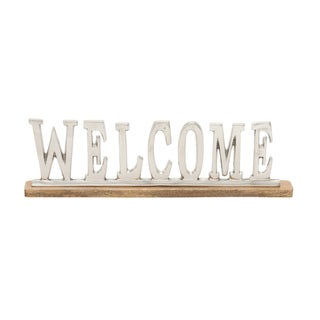 Copper Grove Kitty Metal Wood Welcome 22-inch x 6-inch