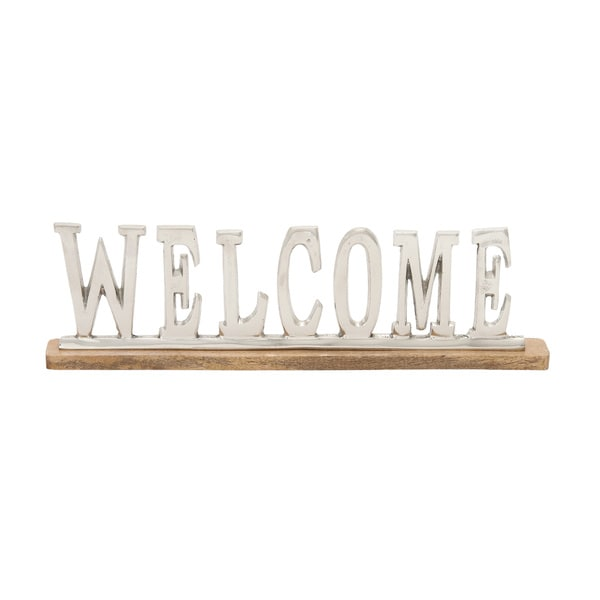 Metal Wood Welcome 22-inch wide x 6-inch high