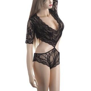 Zodaca Women's Lingerie Black Lace Half-sleeve Piece Suit Nightwear