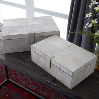 Wood Grey Leather Hide Box 14/ 17-inch wide (Set of 2)