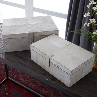 Set of 2 Natural 17 and 14 Inch Leather and Wood Boxes by Studio 350