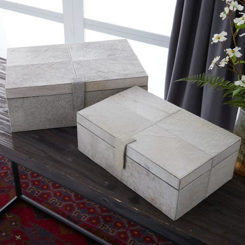 Set of 2 Natural 17 and 14 Inch Leather Boxes by Studio 350