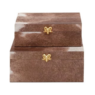 Wood PVC Leather Box 10/ 11-inch wide (Set of 2)