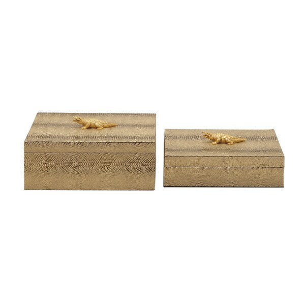 Silver Orchid Grant Wood PVC Leather Box 9/ 10-inch wide (Set of 2)