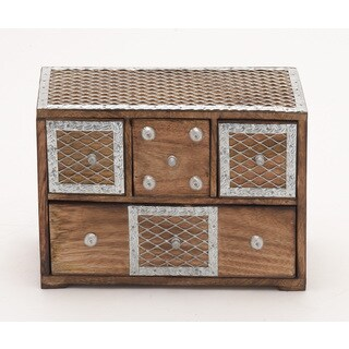 Box With Drawers & Metal Inlay
