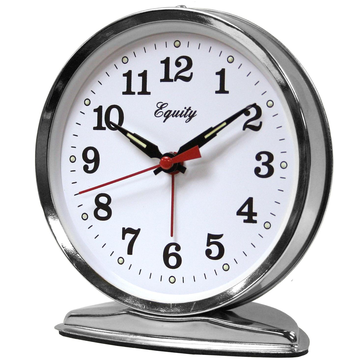 "Equity 24014 4.5"" Chrome (Grey) Wind Up Alarm Clock (Cloc..."
