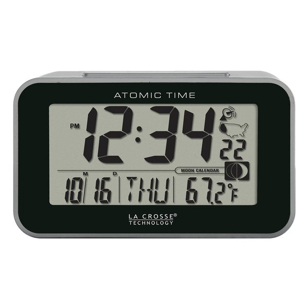 La Crosse Technology 617-1270 Atomic Digital Alarm Clock with Temp/Moon, Black