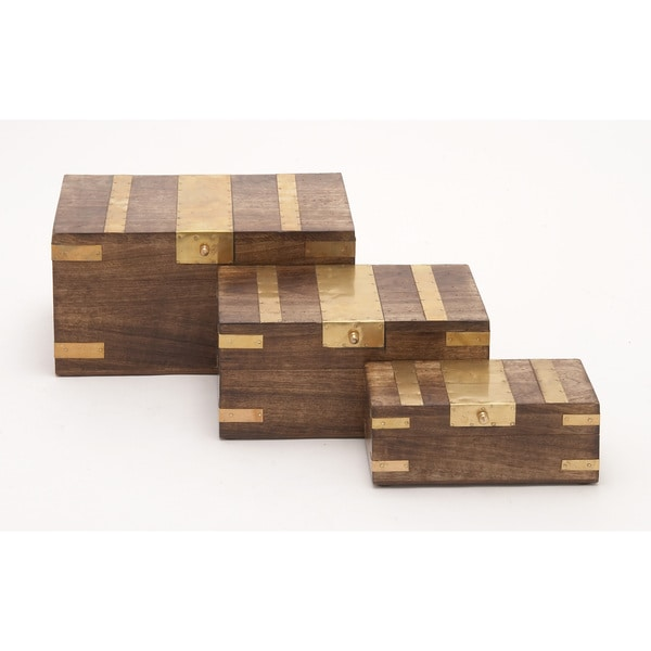 Box Set Of 3 With Brass Inlay