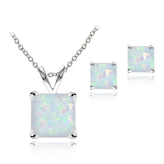 Glitzy Rocks Sterling Silver Created Opal Square Solitaire Pendant and Stud Earring Set