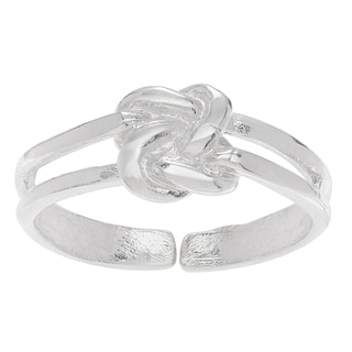 Journee Collection Sterling Silver Adjustable Love Knot Toe Ring