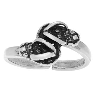 Journee Collection Sterling Silver Adjustable Flip Flops Toe Ring