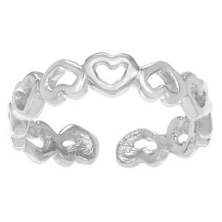 Journee Collection Sterling Silver Adjustable Open Heart Eternity Toe Ring
