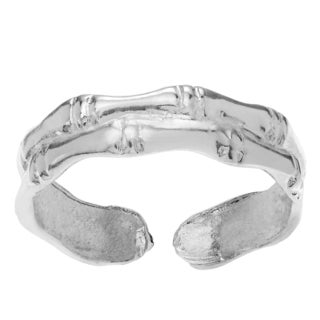 Journee Collection Sterling Silver Adjustable Double Bamboo Toe Ring