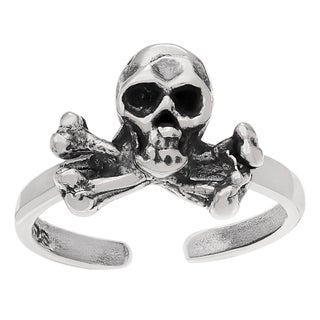 Journee Collection Sterling Silver Skull and Crossbones Adjustable Toe Ring