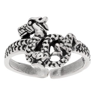 Journee Collection Sterling Silver Adjustable Dragon Toe Ring