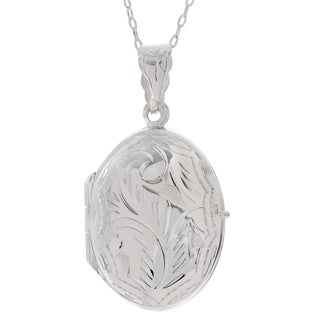 Journee Collection Sterling Silver Textured Oval Locket Pendant