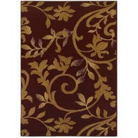 LR Home Grace Vines Red Indoor Area Rug - 7'9 x 9'6