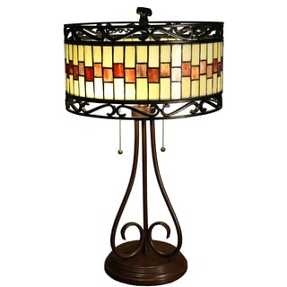 Milagros 2-light Round 24-inch Tiffany-style Table Lamp