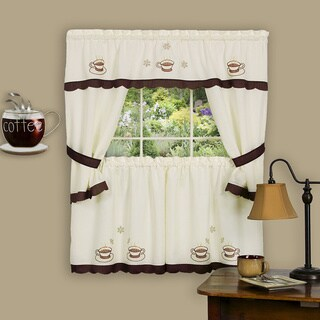 Cuppa Joe Embellished Cottage Curtain Set
