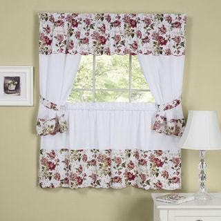 Wisteria Rose Embellished Cottage Tier Curtain Set