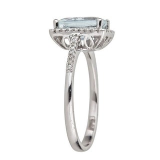 Anika and August 14k White Gold Brazilian Aquamarine and 1/5ct TDW Diamond Ring (G-H, I1-I2)